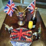 Carrot cake, strawberries,  blueberries and  Bucks Fizz - UK winners!